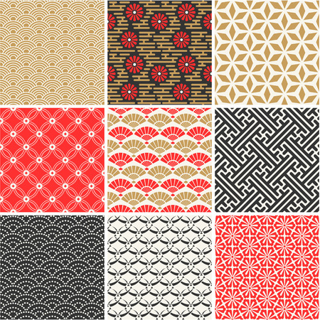 Photo pour Japanese vector seamless patterns set - image libre de droit