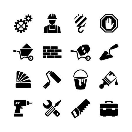 Illustration pour web icons set - building, construction, repair and decoration  - image libre de droit