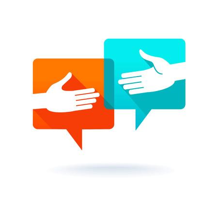 Ilustración de Dialog bubbles with shaking hands - Imagen libre de derechos