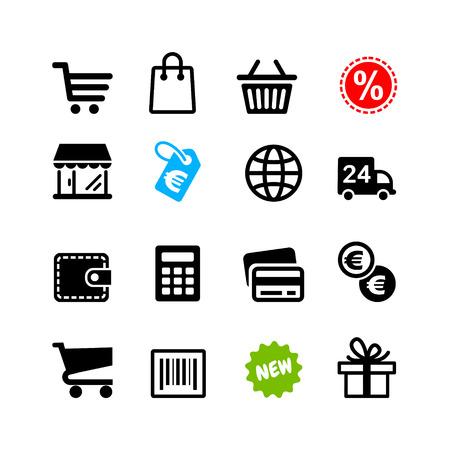 Ilustración de Web icons set  Shopping pictograms, Euro - Imagen libre de derechos