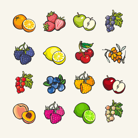 Illustration for Set of cartoon icons - fruits and berries - Royalty Free Image