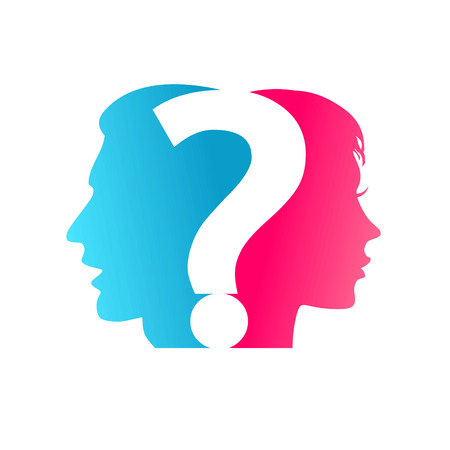 Illustration pour concept Couple and question mark - image libre de droit
