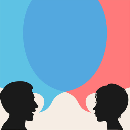 Illustration for Dialog - Speech bubbles with two faces - Royalty Free Image