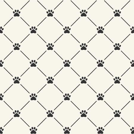 Ilustración de Simple seamless vector pattern with paw prints - Imagen libre de derechos