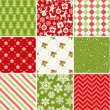 Illustration for Set of seamless christmas patterns - Royalty Free Image