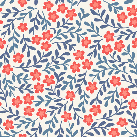 Ilustración de Simple seamless vector pattern with flowers - Imagen libre de derechos
