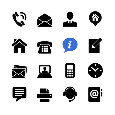 Illustration pour Web communication icon set: contact us - image libre de droit