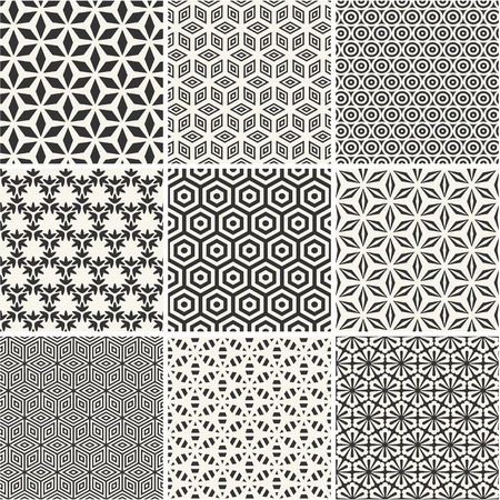 Photo for Seamless hexagons patterns collection - Royalty Free Image