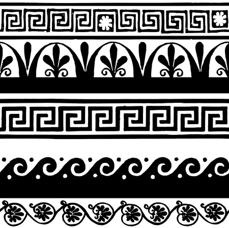 Illustration for Greek style seamless borders - hand drawing - Royalty Free Image