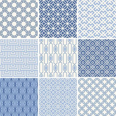 Illustration pour Seamless oriental geometric patterns set in blue - image libre de droit