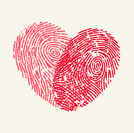 Illustration pour Fingerprint Love Heart - image libre de droit