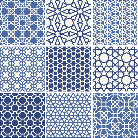 Illustration for Set of Arabic seamless patterns, vector - Royalty Free Image