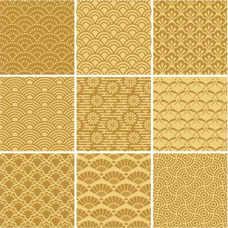Ilustración de Gold seamless wave patterns for web background, surface - Imagen libre de derechos