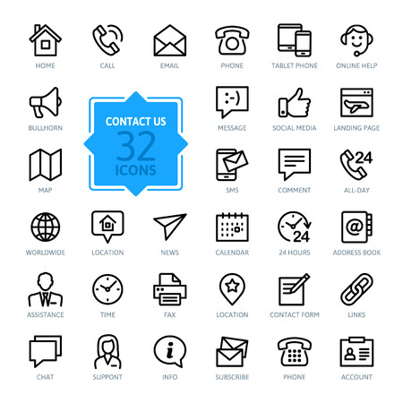Illustration pour Outline web icons set - Contact us - image libre de droit