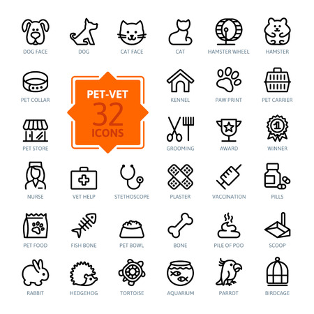 Ilustración de Outline web icon set - pet, vet, pet shop, types of pets - Imagen libre de derechos