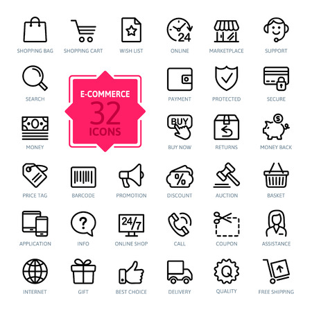 Illustration pour E-commerce. Outline web icons set - image libre de droit