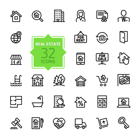 Illustration pour Outline web icons set - Real Estate, property - image libre de droit