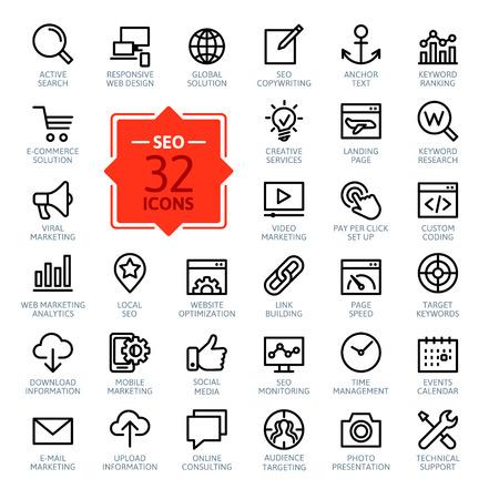 Photo pour Outline web icons set - Search Engine Optimization - image libre de droit