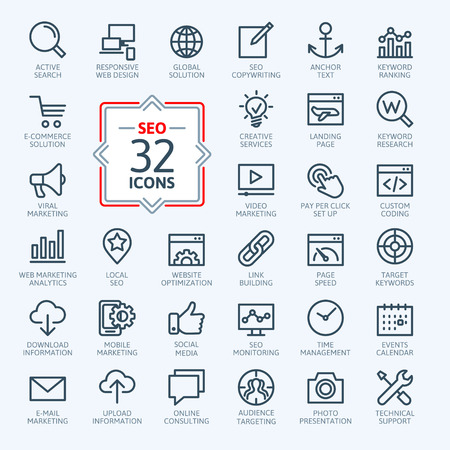 Illustration pour Outline web icons set - Search Engine Optimization - image libre de droit