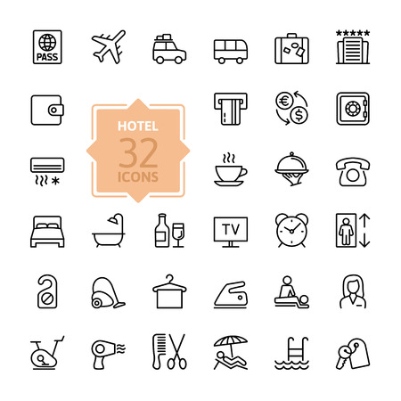Illustration pour Outline web icon set - Hotel services - image libre de droit