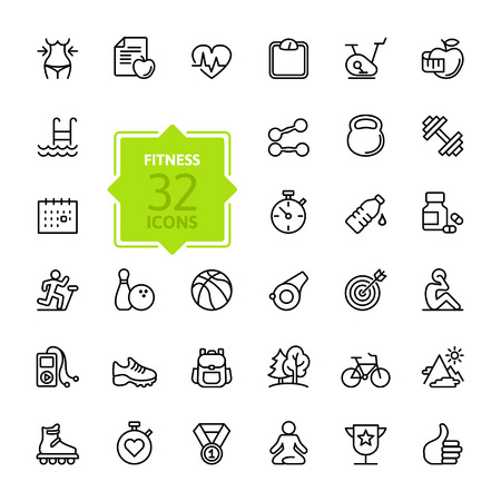 Photo pour Outline web icon set - sport and fitness - image libre de droit