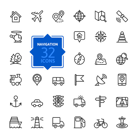 Ilustración de Outline web icons set - navigation, location, transportation - Imagen libre de derechos