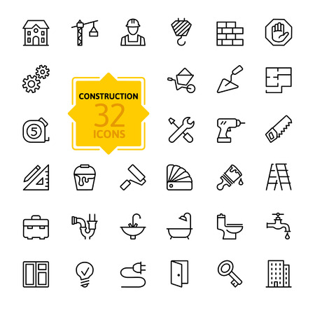 Photo pour Outline web icons set - construction, home repair tools - image libre de droit
