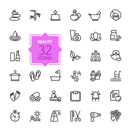 Illustration pour Outline web icon set - Spa & Beauty - image libre de droit