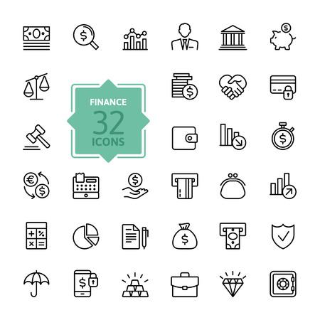 Illustration pour Outline web icon set - money, finance, payments - image libre de droit