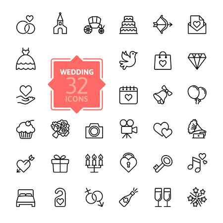 Illustration pour Outline web icon set wedding - image libre de droit
