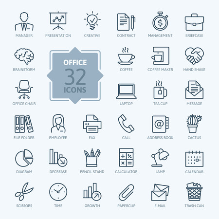 Ilustración de Outline web icon set - Office supplies. - Imagen libre de derechos