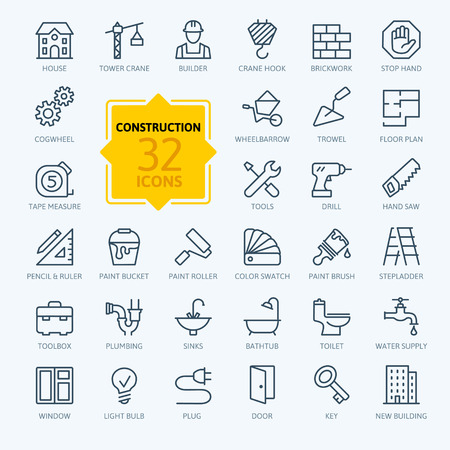 Illustration pour Outline web icons set - construction, home repair tools - image libre de droit