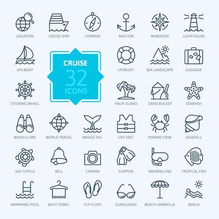 Illustration pour Outline web icon set - journey, vacation, cruise - image libre de droit