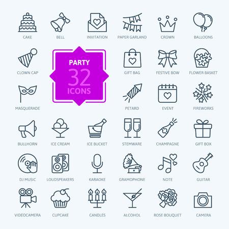Illustration pour Outline web icon set - Party, Birthday, celebration - image libre de droit