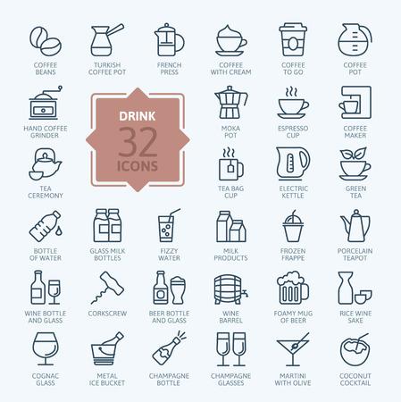 Ilustración de Outline web icon set - drink coffee, tea, alcohol - Imagen libre de derechos
