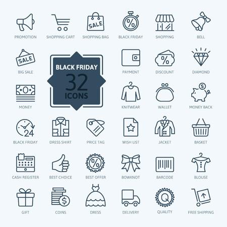 Ilustración de Outline icon collection - Black Friday Big Sale - Imagen libre de derechos