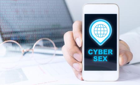 Photo pour Business man is holding phone for Cyber sex icon - image libre de droit