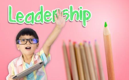 Photo pour Boy raising his hand ready for leadership - image libre de droit