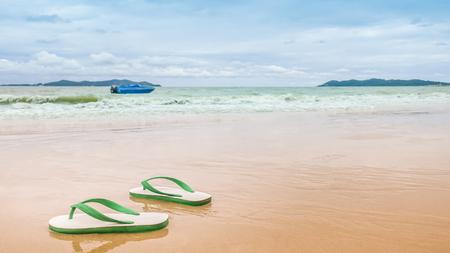 Foto de Thai style foam sandals on the beach - Imagen libre de derechos