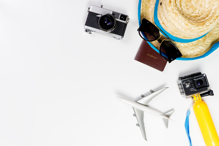 Photo pour Summer Beach travel objects and gadgets on white background - image libre de droit