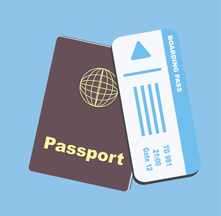 Illustration for Blue boarding pass and brown passport flat on blue background - Royalty Free Image