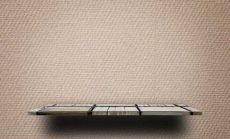 Photo pour empty Wooden shelf on Vintage paper texture - image libre de droit
