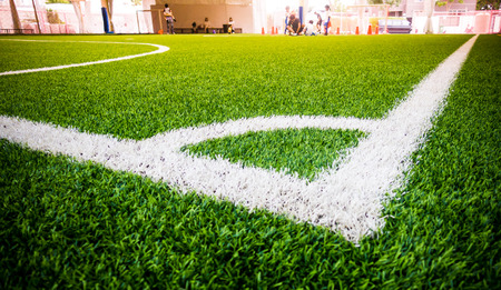 Photo pour Corner Line of an indoor football soccer training field - image libre de droit