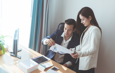Photo for Business team is discussing on company business report - Royalty Free Image