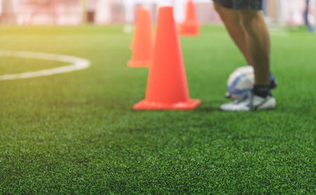 Photo pour Indoor soccer training field blur abstract for background - image libre de droit