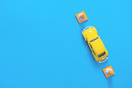 Photo pour Poster style toy car for test school driving exam on blue - image libre de droit