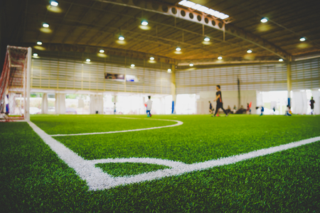 Photo pour Corner Line of an indoor football soccer training field - image libre de droit