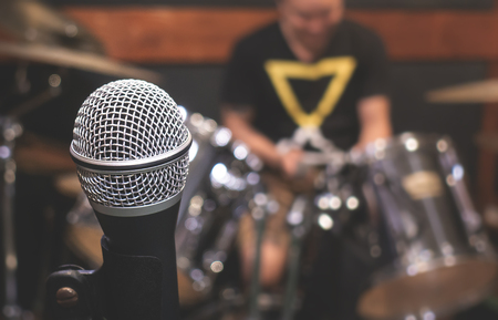 Photo for Dynamic Microphone in Music Studio rehearsal room - Royalty Free Image