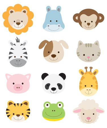 Photo pour Vector illustration of animal faces including lion, hippo, monkey, zebra, dog, cat, pig, panda, giraffe, tiger, frog, and sheep  - image libre de droit