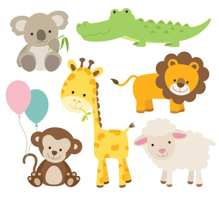 Photo pour Vector illustration of cute animal set including koala, crocodile, giraffe, monkey, lion, and sheep  - image libre de droit